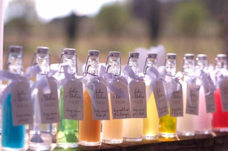 11 mignonettes sirop sans alcool aux différents parfums et couleurs pour cadeau de mariage