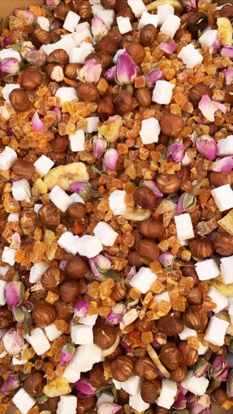 Mélange de fruits secs et fleurs pour remplis berlingots, sachets et sucettes