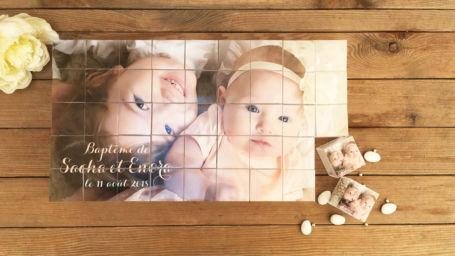 puzzle à dragée grand format pour baptême