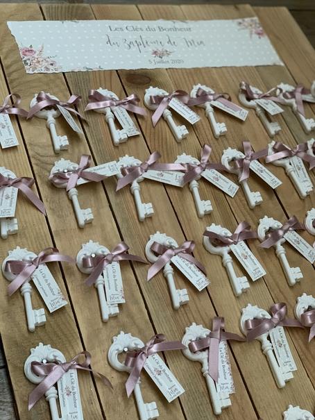 clés du bonheur en céramique avec étiquettes personnalisée pour cadeau de baptême