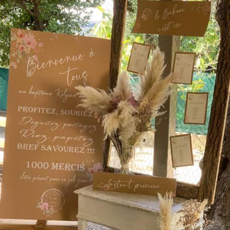 Panneau de Bienvenue mariage champêtre avec papeterie assortie