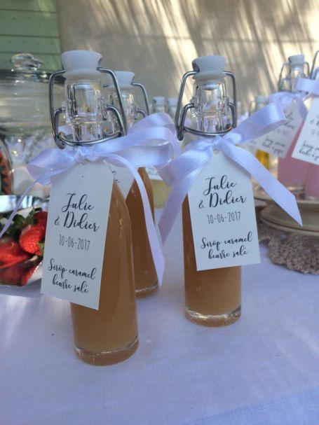 trois fioles de sirop parfum Caramel beurre salé pour cadeau d'invité