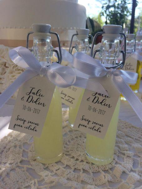 trois fioles de sirop parfum pina colada pour cadeau d'invité