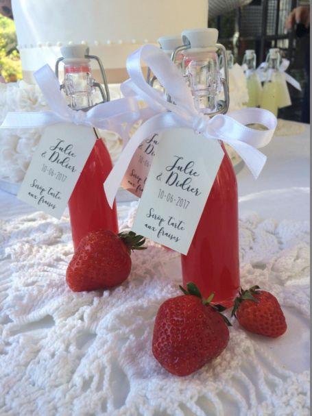 deux fioles de sirop parfum tarte aux fraises