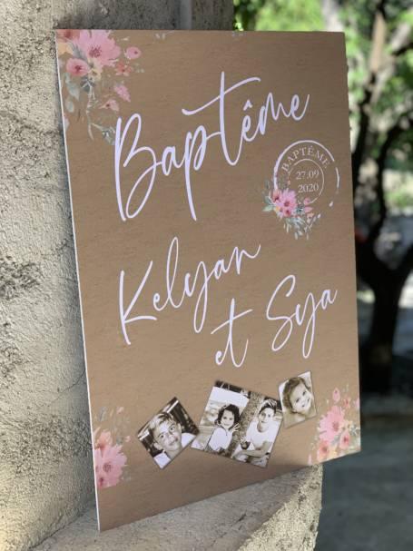 Panneau de Bienvenue modèle baptême champêtre
