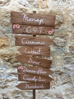 panneau directionnel mariage personnalisé