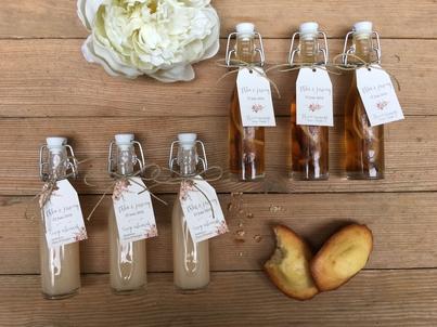 six mini bouteilles de sirops d'alcool pour cadeau d'invité de mariage