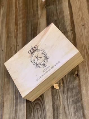 boîte en bois pour cadeau témoin fermée