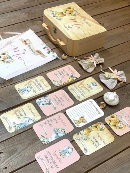 coffret cadeau de naissance valise maternité lionne bébé et ses cartes étapes