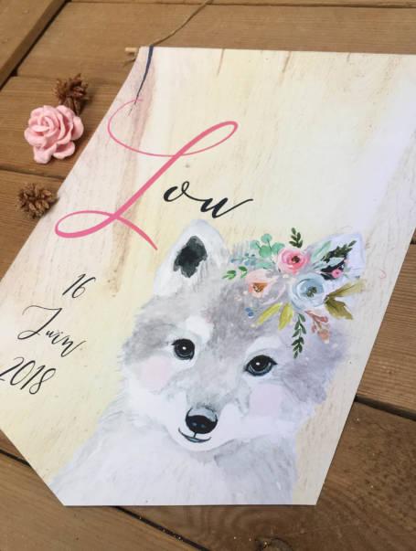 papeterie coffret cadeau de naissance valise maternité thème loup bébé avec cartes étapes