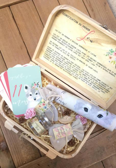 coffret cadeau de naissance valise maternité thème loup bébé avec cartes étapes