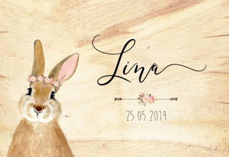détail couvercle coffre naissance thème lapin lapine