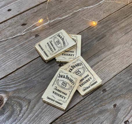 mini tablettes de chocolat fondant avec emballage personnalisée thème jack daniel's